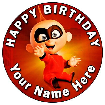 """THE INCREDIBLES 2 JACK - 7.5"""" PERSONALISED ROUND EDIBLE ICING CAKE TOPPER (6)"""