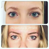 Microblading by trained permanent makeup artist