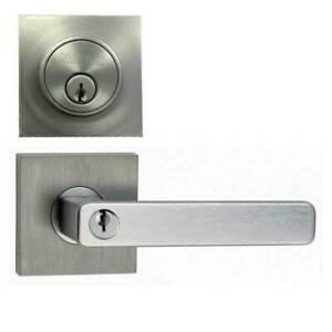 N2LOK VITUS SQUARE COMBO DOOR HANDLE LOCK SET LEVER 60-70MM SATIN