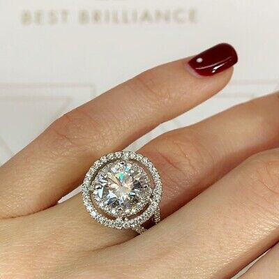 Diamond Cut Rings (Exquisite 925 Silver Round Cut White Sapphire Diamond Ring Wedding Fine)