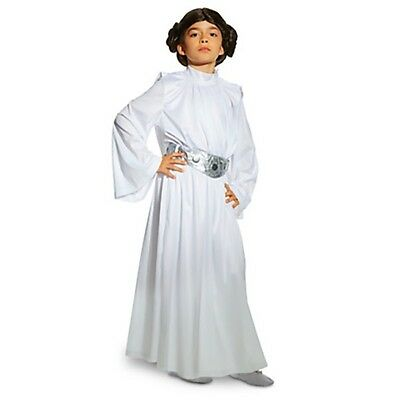 Girl PRINCESS LEIA Costume Dress Wig Belt Pants Child XL 11 12 DISNEY Star Wars