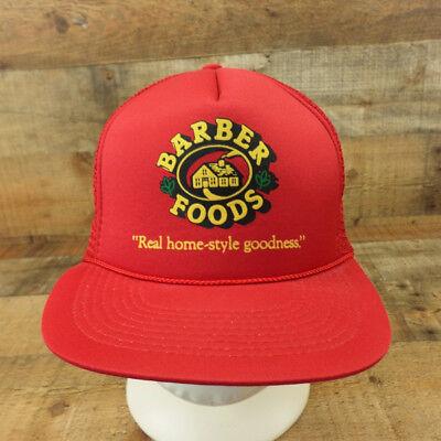 Barber Foods Hat Cap Tyson Portland Maine Snapback Mesh Foam Trucker Red