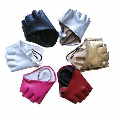 women short leather gloves half fingerless dance