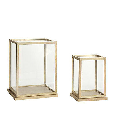 Glass Display Oak Cover Dome With Wooden Base Frame Set of 2 Danish Design