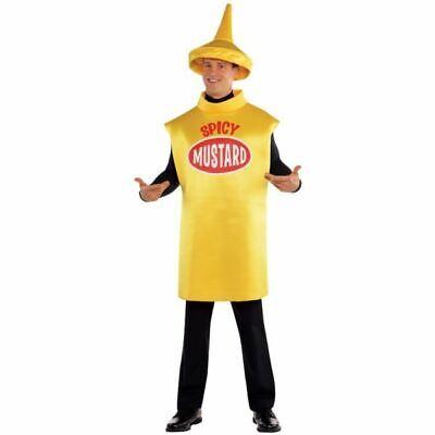 Adult Mustard Bottle Costume Hotdog Food and Drink Funny Fancy Dress