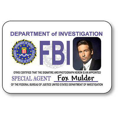 FOX MULDER NAME BADGE HALLOWEEN COSTUME PROP FOR X FILES TV SHOW SAFETY PIN  (Mulder Halloween Costume)