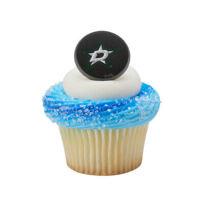 NHL Cake Toppers Dallas Stars Cupcake Rings One Dozen Hockey - Hockey Cake Toppers