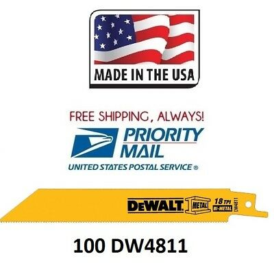 "(100 Pc) Dewalt 18 TPI 6"" Bi-metal Sawzall Reciprocating Saw Blade Free Shipping"