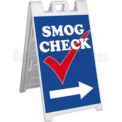 Signicade A-frame Sign Sidewalk Pavement Sign - Smog Check Blue