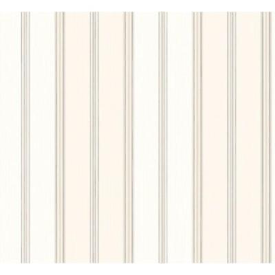 Wallpaper Designer Gray and Taupe Mini Stripe on Beige and Cream Faux