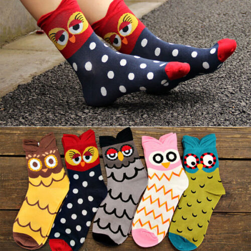 1Pair New Fashion Unique Women and Girls Cartoon Lovely Cute Owl Cotton Socks