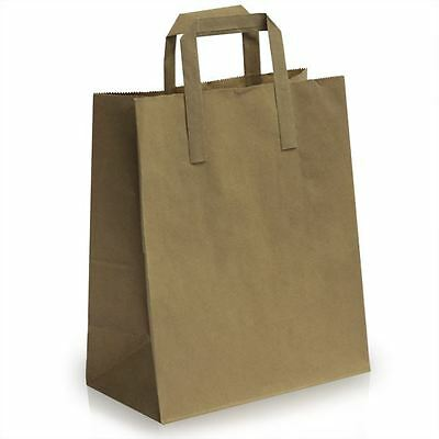 10 X Kraft Brown SOS Takeaway paper Carrier Bags with Flat Handles 25x30+14 cm