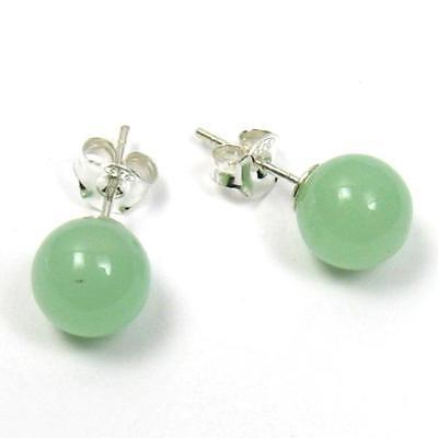 Silver Natural Green Jade Earring - Light Natural Green Jade 925 Sterling Silver Earring Studs 8mm or 10mm
