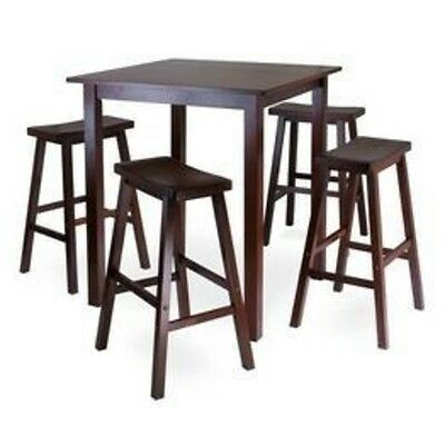 (Winsome Parkland 5pc Square High/Pub Table Set with 4 Saddle Seat Stools 94549)