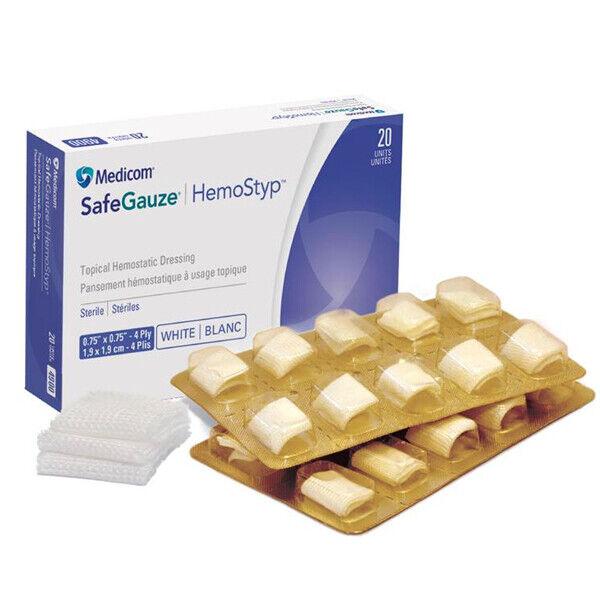 MEDICOM HEMOSTAT SAFEGAUZE TOPICAL HEMOSTATIC DRESSING STERILE 4 PLY 40 SPONGES