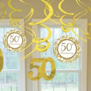 50th golden wedding anniversary pack of 12 swirl for 50th birthday decoration packs