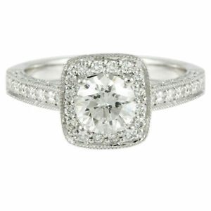 14k White Gold Diamond Halo Engagement Ring (1.46tdw) 2889