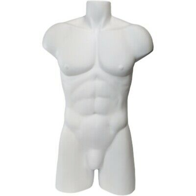 Mn-149a White Freestanding Armless Muscular Male Upper Torso Mannequin Form
