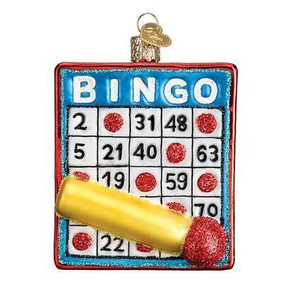 Christmas Bingo Game Cards (BINGO CARD GAME OF CHANCE OLD WORLD CHRISTMAS GLASS ORNAMENT NWT)
