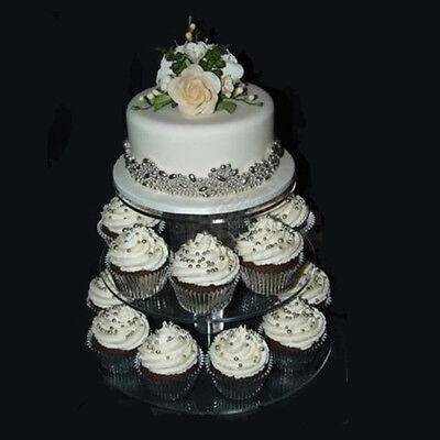 3 tier crystal clear acrylic round cake cupcake stand wedding birthday display ebay. Black Bedroom Furniture Sets. Home Design Ideas