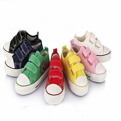 Multi Color Children Kid Rubber Casual Canvas Sneakers Velcro Shoes Plimsolls