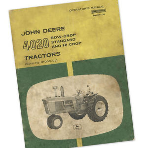 JOHN DEERE MODEL 4020 TRACTOR OPERATOR OWNER MANUAL ROW CROP STANDARD GAS DIESEL