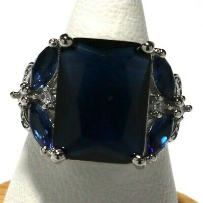 Antique Princess Cut Blue Sapphire Ring Nickel Free Women Jewelry Gift  Princess Blue Sapphire Ring