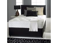 "DIVAN BED SET + 10"" MEMORY FOAM MATTRESS + HEADBOARD (OPTIONAL COLOURS)"