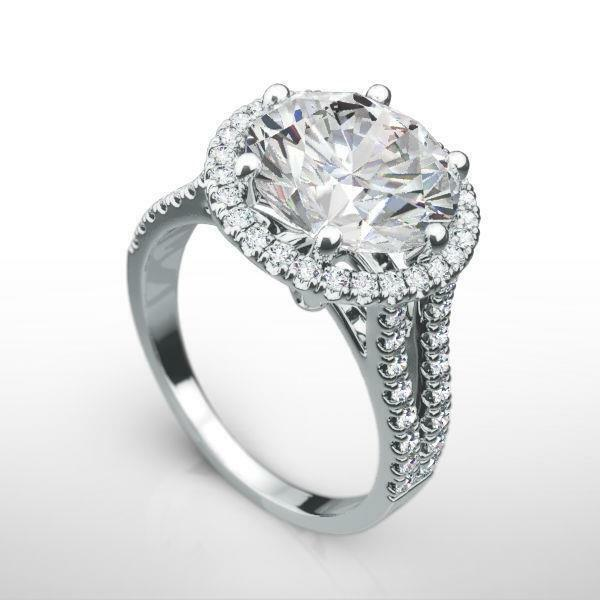 Si1 Halo Diamond Ring Split Shank 3.9 Ct Estate 18 Karat White Gold Size 5 6 7 8