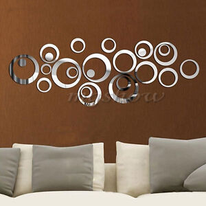24pcs Circle Removable Acrylic Mirror Wall Home Decals Decor Vinyl Art Stickers