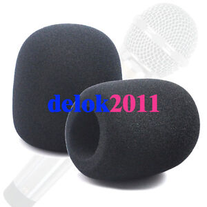 Black Microphone Grill Foam Cover Audio Mic Shield pair