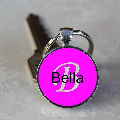 Handmade Bella Name Monogram Glass Dome Keychain (GDNKC0313)