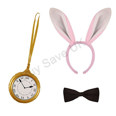 Mad Hatter Costume Accessories (WHITE RABBIT ALICE FANCY DRESS COSTUME ACCESSORIES BOOK WEEK DAY KIT MAD)