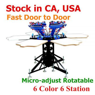 Us 6 Color 6 Station Micro-adjust Rotatable Manual Screen Printing Press Machine