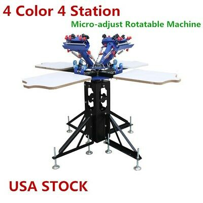 Us-4 Color 4 Station Silk Screen Printing Printer Press Micro-adjust Rotatable