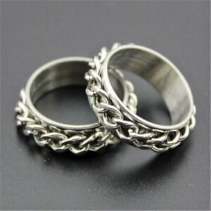 Stainless steel Cuban chain link spinner rings