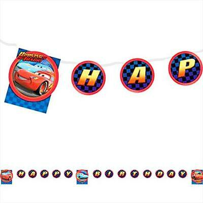 Disney World of Cars Jointed 8.5' Plastic Happy Birthday Banner 1 Count New - Disney Cars Birthday Banner