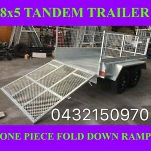 8x5 galvanised tandem box trailer with fold down ramp 2 tonnes