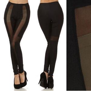 New-NYLON-SPANDEX-Cross-Mesh-Inset-Panel-Design-Sexy-LEGGINGS-See-Thru-pants