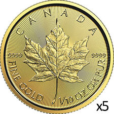 5 x 1/10 oz 2018 Gold Maple Leaf Coin - RCM .9999 Gold - Royal Canadian Mint
