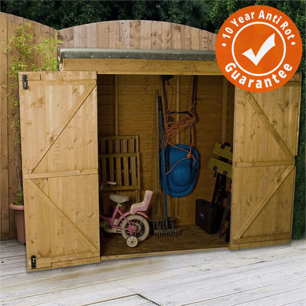 6x3 overlap wooden garden shed with double doors pent roof felt garden sheds
