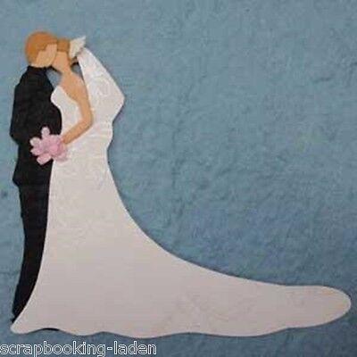 Brautpaar 8 x 9 cm mit Glitzer Hochzeit Scrapbooking Basteln 3 D
