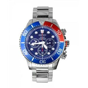 NEW - Seiko Mens Chronograph Diver Solar Watch - FREE DELIVERY