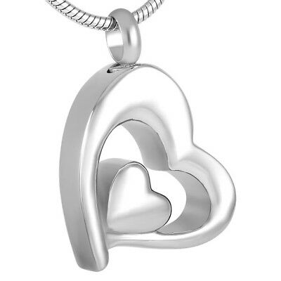 Silver Heart Cremation Urn Necklace Ashes Jewellery Pendant Keepsake Memorial