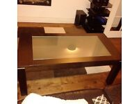Coffee table dark brown with frosted glass