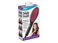 Simply Straight: Heated Ceramic Hair Straightener Brush