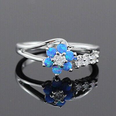 Fashion Women Blue Flower Fire Opal 925 Silver Gemstone Jewelry Ring Gifts Size6