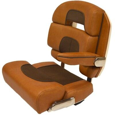 Scout Boat Bolster Captain Seat | Brown Dark Brown Deluxe Helm Chair w/ Armrest