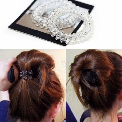 5pcs Lady Girl Clear Elastic Rubber Hair Ties Spiral Slinky Rubber Rope Hairband