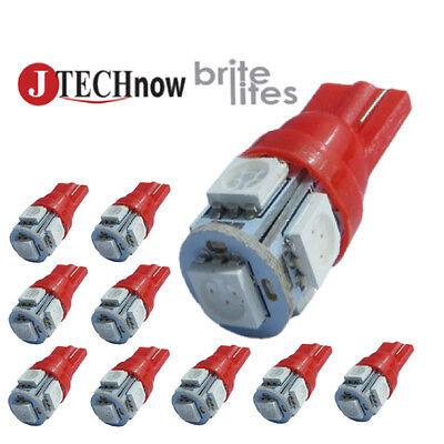 Jtech 10X T10 5 Smd Led Red Super Bright Car Lights Bulb W5w  194  168  2825